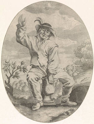 Ceramics Drawing - Seated Farmer With A Jug, Nicolaes Van Lijnhoven by Nicolaes Van Lijnhoven And Andries Both