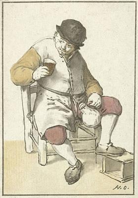 Seated Farmer With Jug, Cornelis Ploos Van Amstel Art Print