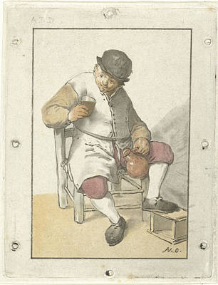 Glass Bottle Drawing - Seated Farmer With Jug, Cornelis Ploos Van Amstel by Cornelis Ploos Van Amstel