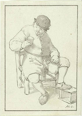 Glass Bottle Drawing - Seated Farmer With Pitcher, Print Maker Cornelis Ploos Van by Cornelis Ploos Van Amstel And Adriaen Van Ostade