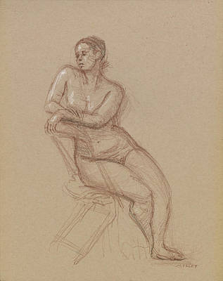 Nude Figure Drawing - Seated Female Nude 2/4/2015 by Walter Lynn Mosley