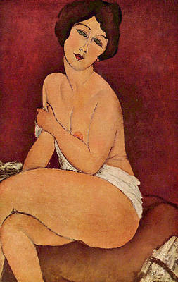 Seated Female Nude Art Print by Amedeo Modigliani