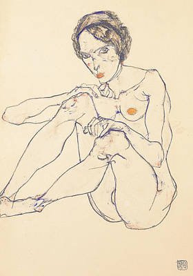 Seated Female Nude Art Print by Egon Schiele