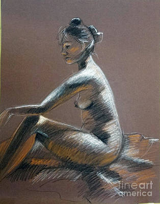 Drawing - Seated Female Side Light by Barbara Oertli