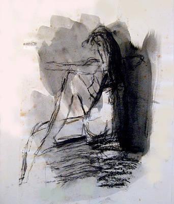 Seated Figure Ink Wash Art Print