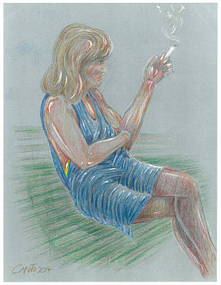 Mixed Media - Seated Girl Smoking - Colour Study by Giovanni Caputo