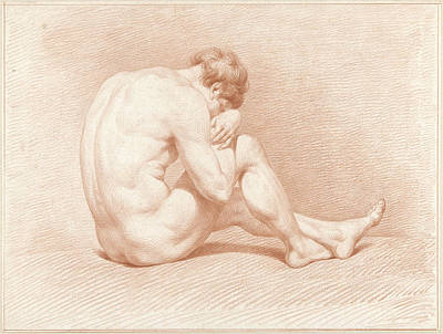 Seated Male Nude, Head On Knee Art Print by Quint Lox