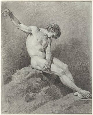 Pi Drawing - Seated Male Nude, Pièrre Recco by Quint Lox