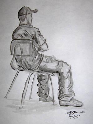 Seated Man In Ball Cap Art Print by Jeffrey Oleniacz