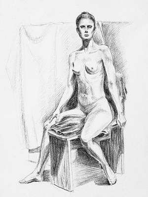 Nudes Royalty-Free and Rights-Managed Images - Seated Model Drawing  by Irina Sztukowski