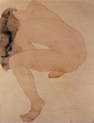 Long Hair Drawing - Seated Nude Bending Over by Auguste Rodin