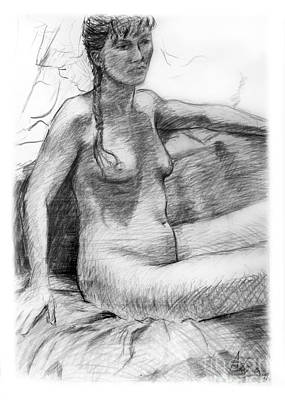 Drawing - Seated Nude Female Figure Drawing by Adam Long