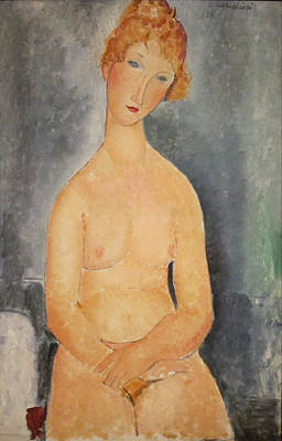 Seated Nude Woman Painting Art Print by