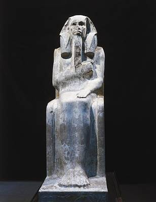 Statue Portrait Photograph - Seated Statue Of King Djoser. 2611 Bc by Everett