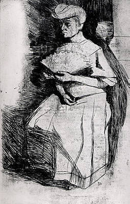 Umberto Drawing - Seated Woman Holding A Fan by Umberto Boccioni