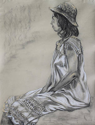 Straw Hat Drawing - Seated Woman In A White Dress And Straw Hat by Asha Carolyn Young