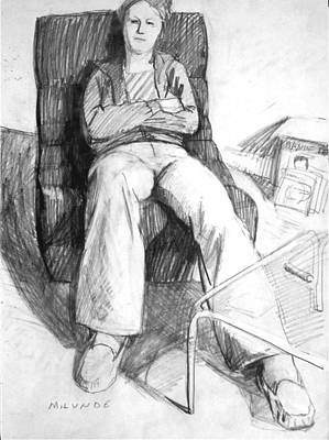 Drawing - Seated Woman by Mark Lunde