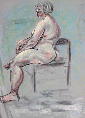 Pastel - Seated Woman With Silver Hair by Asha Carolyn Young