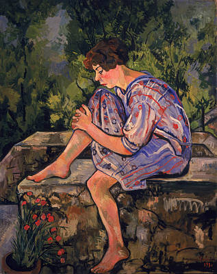 Sit-ins Painting - Seated Young Woman by Marie Clementine Valadon