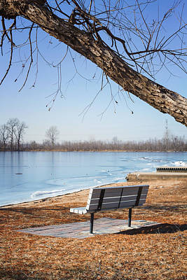 Creve Coeur Park Photograph - Seating Bench by Linda Tiepelman