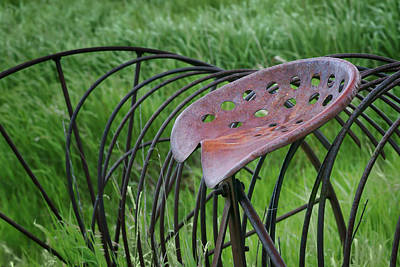 Abandonded Tractor Photograph - Seating For One - Vintage Hay Rake Seat  by Nikolyn McDonald