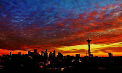Photograph - Seattle Ablaze by Benjamin Yeager