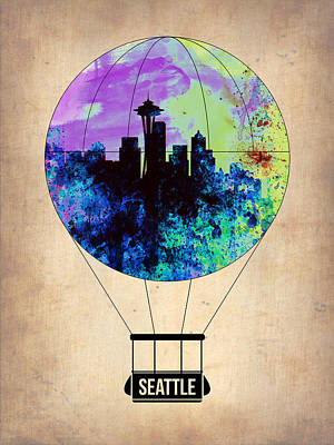 Seattle Air Balloon Art Print by Naxart Studio
