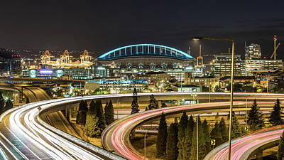 Seattle And Curved Road Light Trails Art Print by Michael Lee