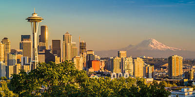 Seattle And Mt. Rainier - City Skyline Photograph Original by Duane Miller