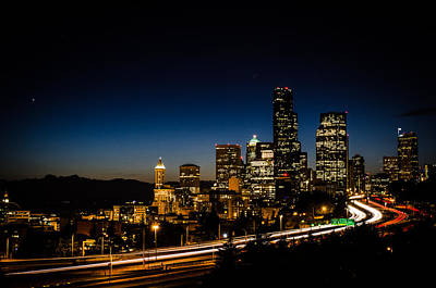 Seattle Skyline Photograph - Seattle At Night by Brian Xavier