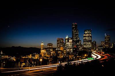 Seattle At Night Art Print by Brian Xavier