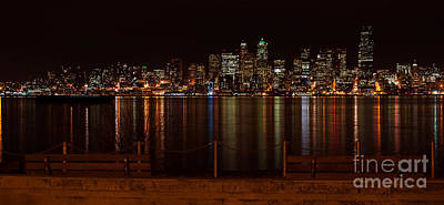 Seattle At Night Art Print