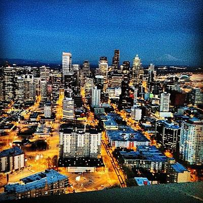 Landmarks Wall Art - Photograph - Seattle At Night From The Top Of The by James Higuera