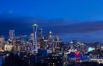 Nikon Digital Art - Seattle At Twilight by Eddie Yerkish