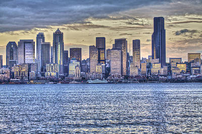 Photograph - Seattle At Twilight From Alki Beach by SC Heffner