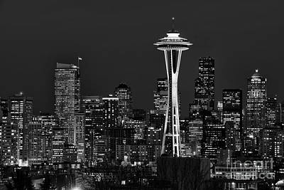 Seattle Black And White Art Print by Peter Dang