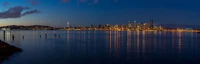 Skylines Royalty-Free and Rights-Managed Images - Seattle Blue Skyline by Mike Reid