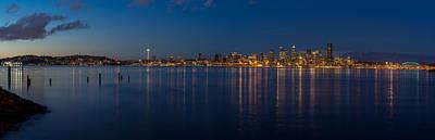 Seattle Skyline Photograph - Seattle Blue Skyline by Mike Reid