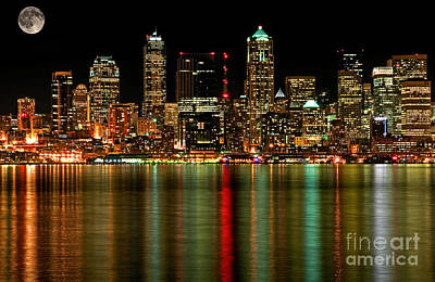 Photograph - Seattle Business District At Night With Full Moon by Valerie Garner