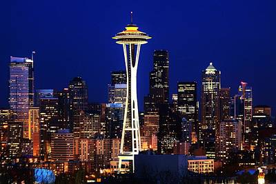 Photograph - Seattle By Night by Benjamin Yeager
