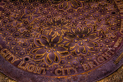 Seattle Photograph - Seattle City Light City Bright Manhole Cover by David Patterson