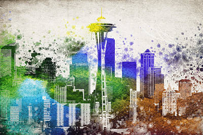 Seattle Mixed Media - Seattle City Skyline by Aged Pixel