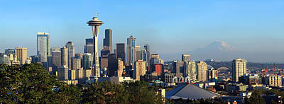 Seattle Skyline Photograph - Seattle City Skyline With Mt. Rainier by Panoramic Images