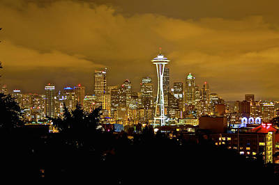 Photograph - Seattle Cityscape At Night From Kerry Park 2 by SC Heffner