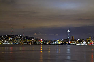 Photograph - Seattle Cityscape At Night by SC Heffner