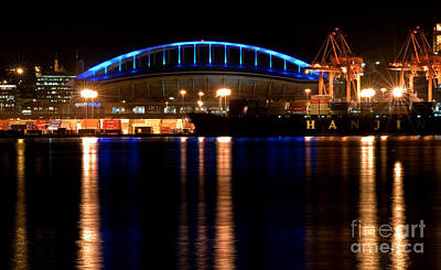 Photograph - Seattle Cityscape At Night With Sports Stadium by Valerie Garner