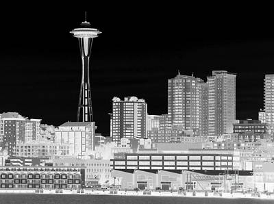 Seattle Cityscape - Bw Negative Art Print by Connie Fox