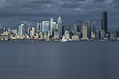Photograph - Seattle Cityscape From Alki Beach by SC Heffner