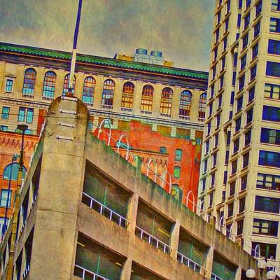 Digital Art - Seattle Cityscape - Square by Lyn Voytershark