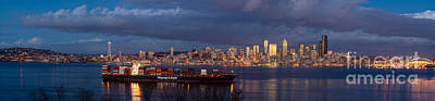 The Wheel Photograph - Seattle Cityscape Wide Panorama by Mike Reid